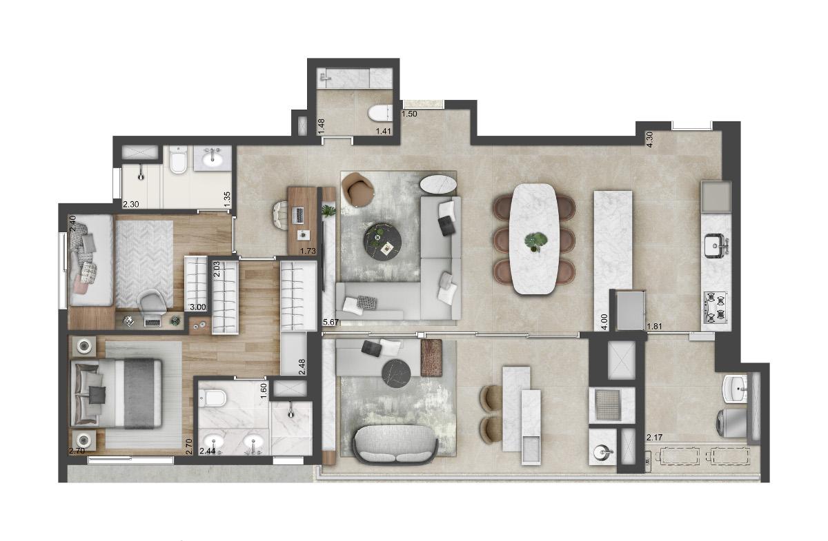 3 dormitórios - outra opção